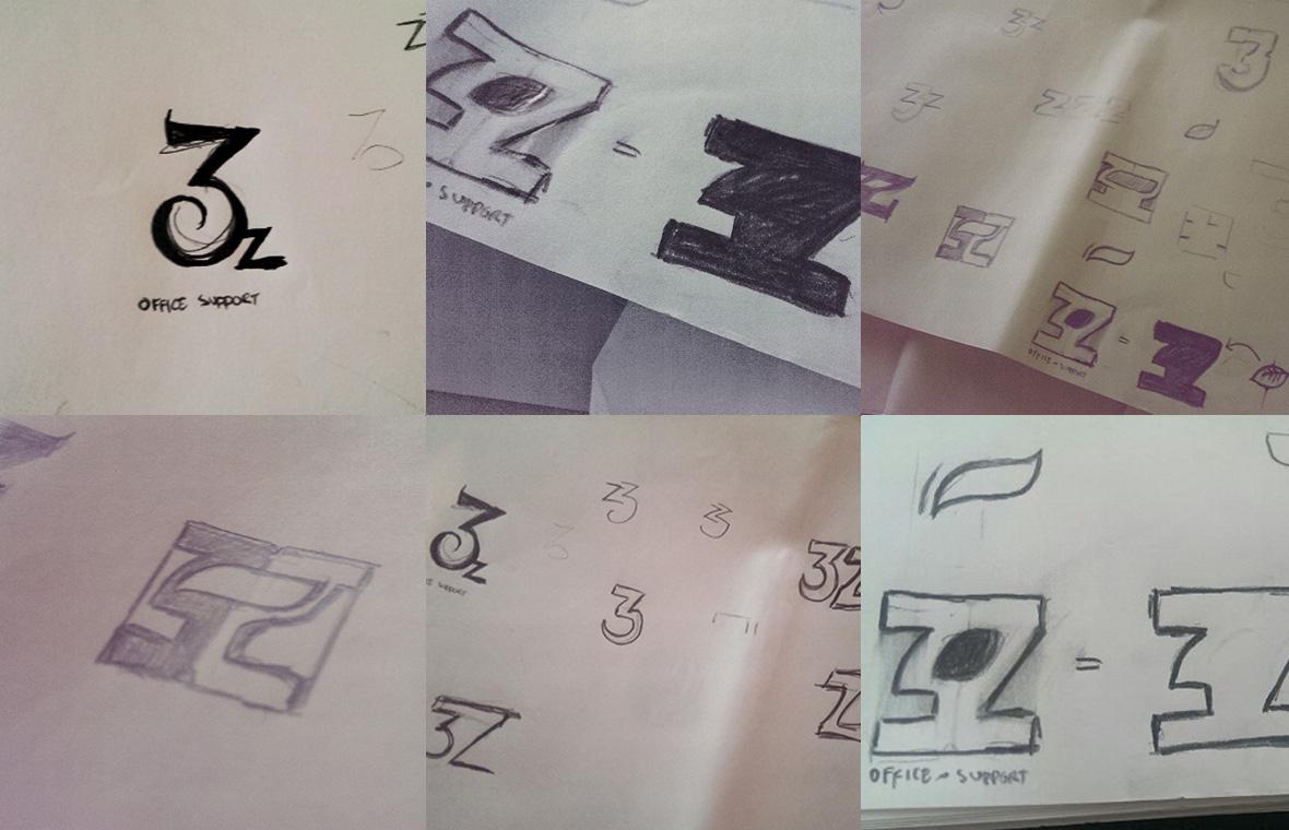 Logo 3z office support huisstijl grafisch ontwerp design schetsen