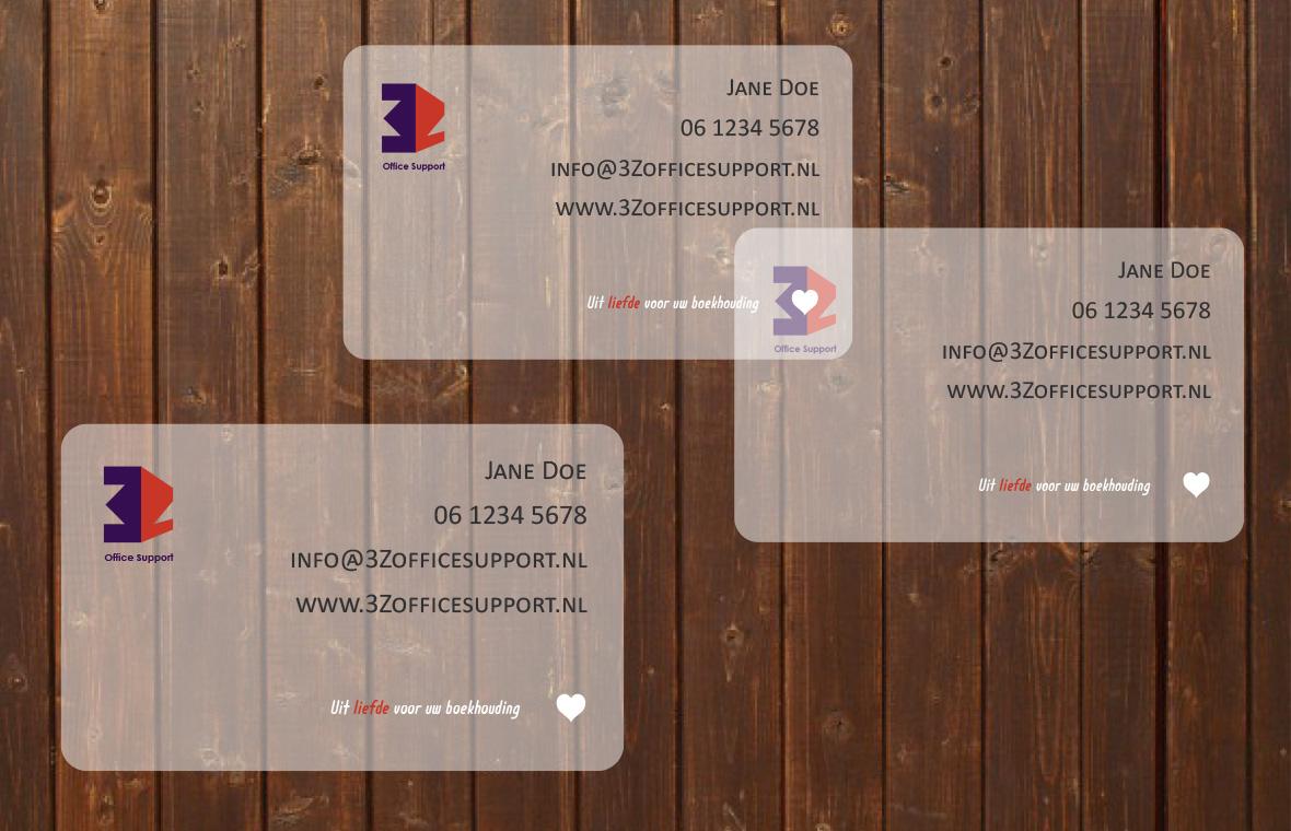 Visitekaartjes 3z office support huisstijl logo drukwerk grafisch ontwerp design