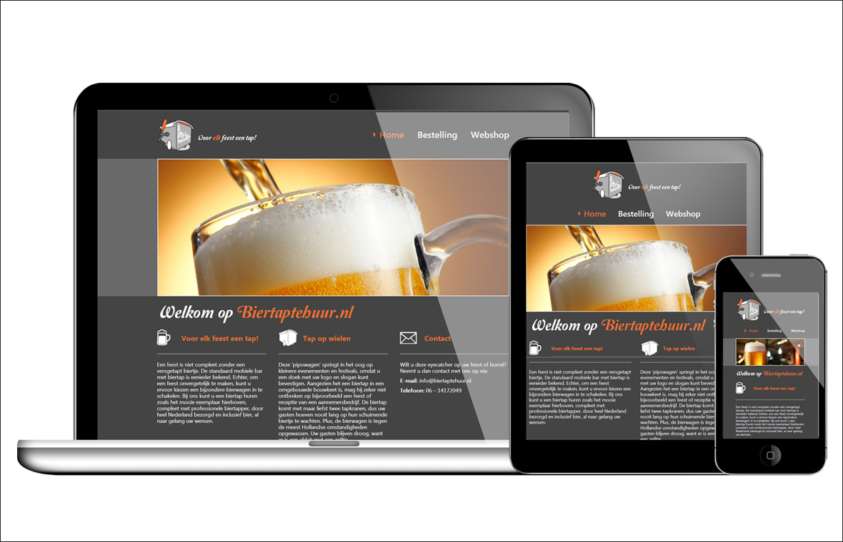 Website webdesign webshop biertaptehuur finished product