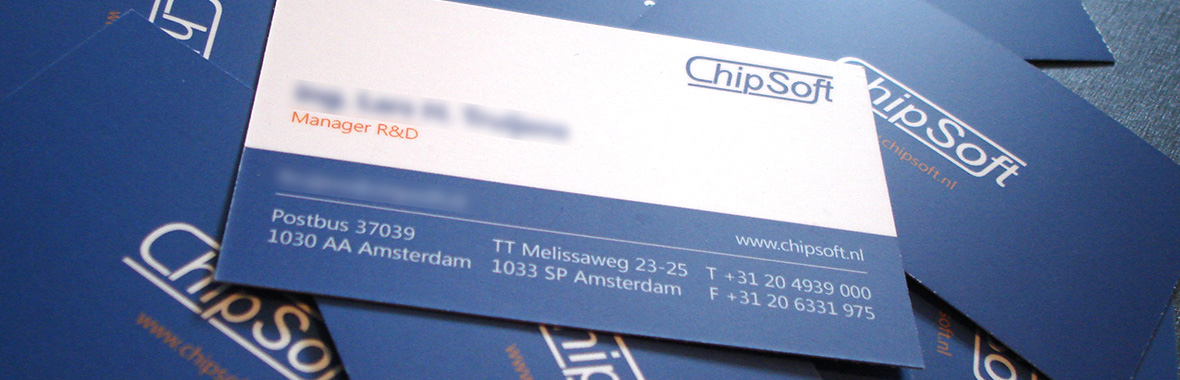 Visitekaartjes chipsoft huisstijl logo drukwerk grafisch ontwerp design