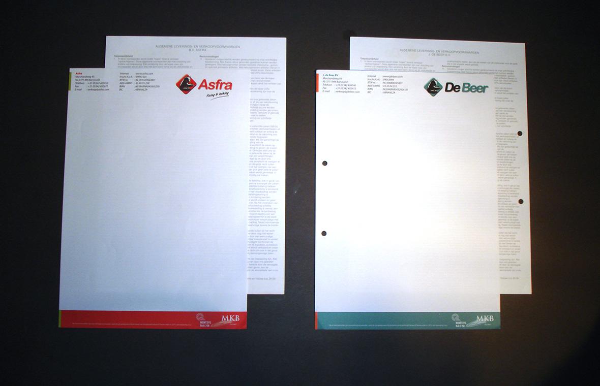 debeer huisstijl drukwerk briefpapier
