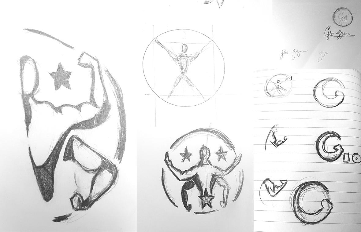 Logo gio gym huisstijl grafisch ontwerp design schetsen