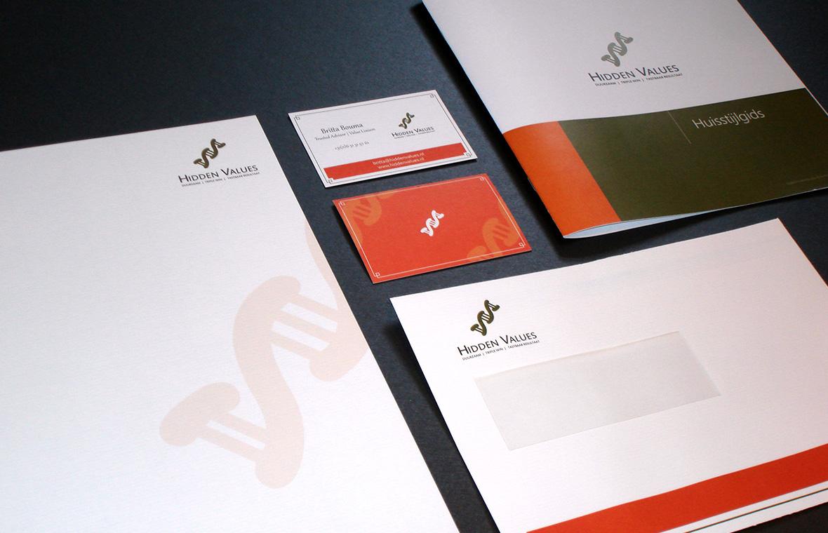 hidden values huisstijl visitekaartjes drukwerk logo brochures styleguide voucher briefpapier