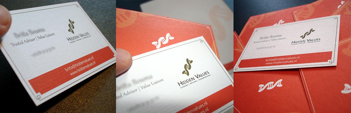 visitekaartjes hidden values huisstijl logo drukwerk grafisch ontwerp design