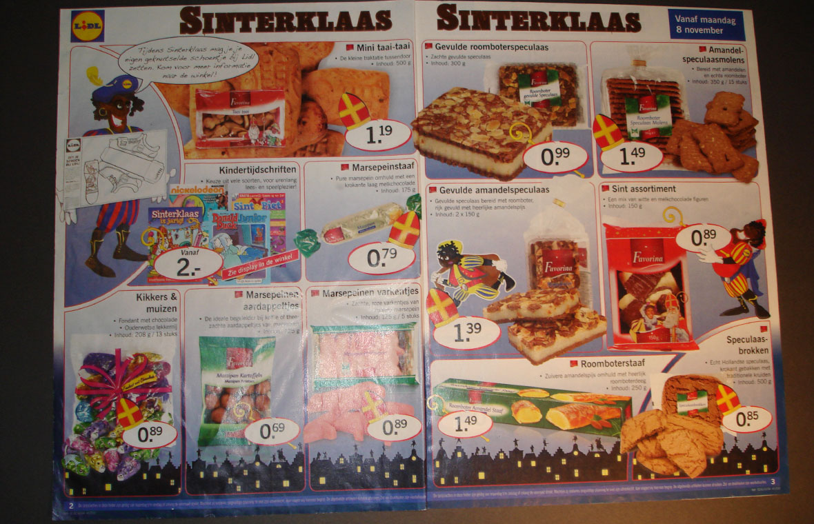 lidl sinterklaas pieten drukwerk kleur cartoon folder