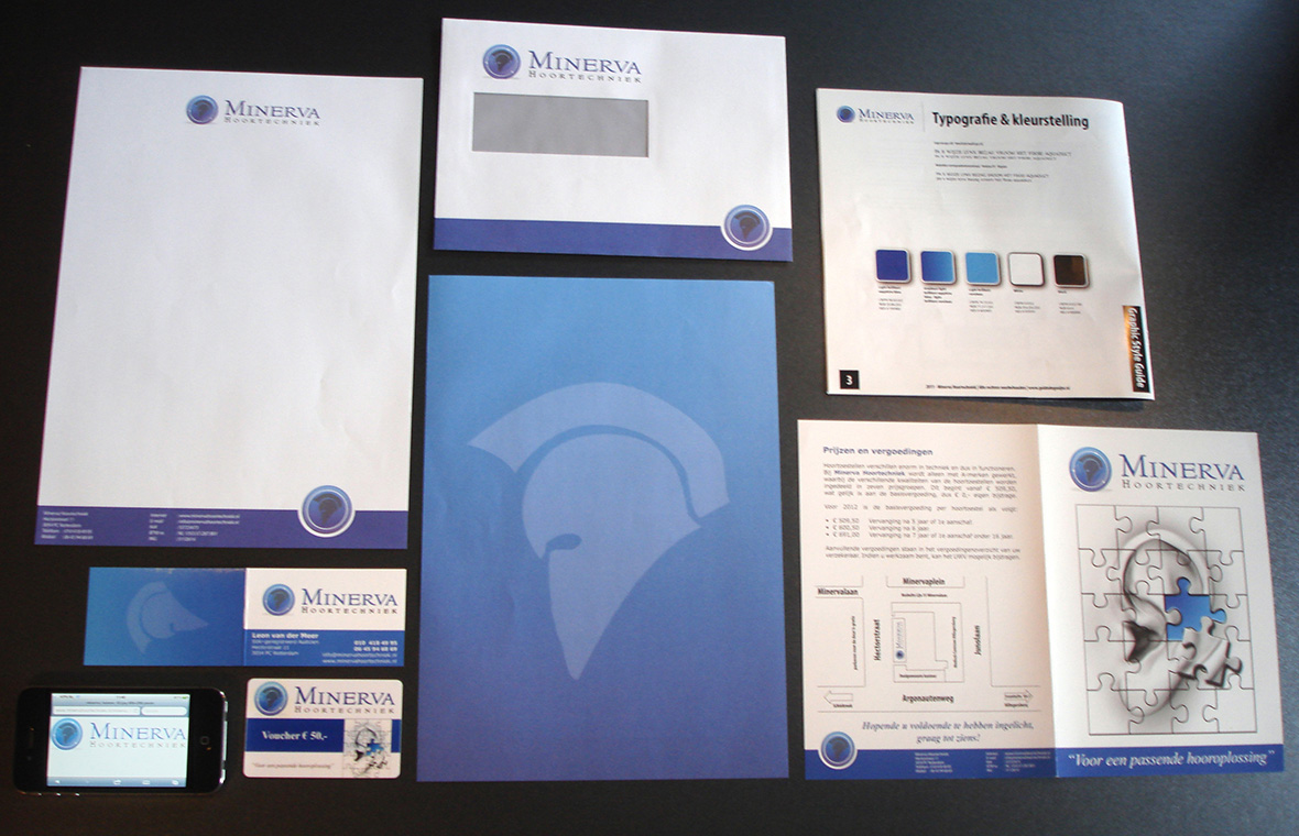 minerva huisstijl visitekaartjes drukwerk logo brochures styleguide voucher briefpapier