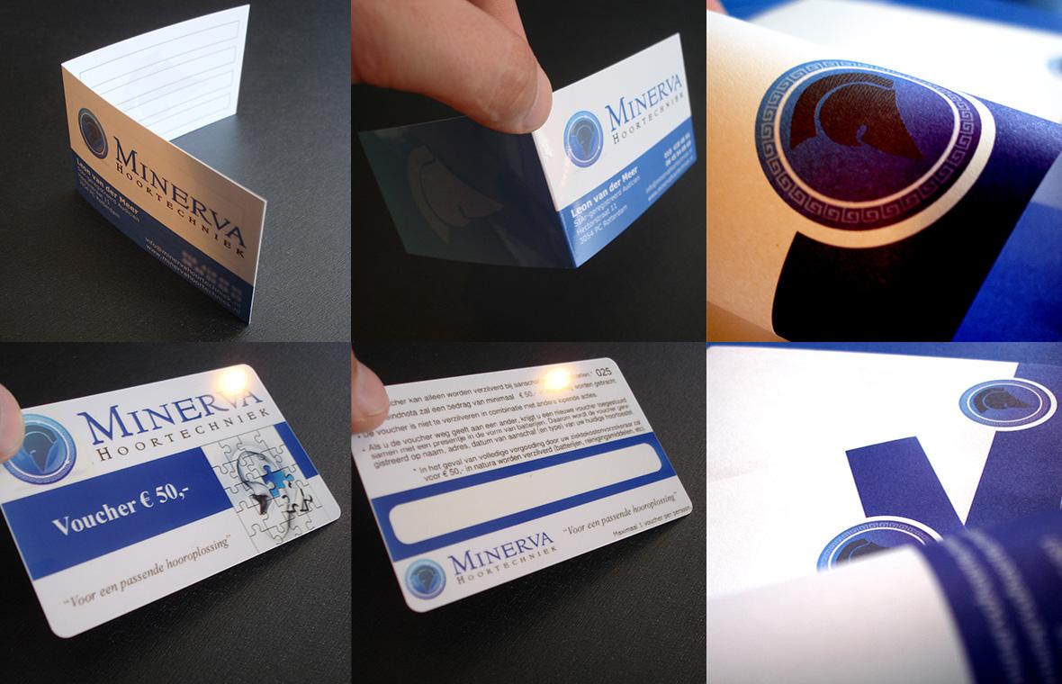 minerva huisstijl visitekaartjes drukwerk logo voucher briefpapier compilatie