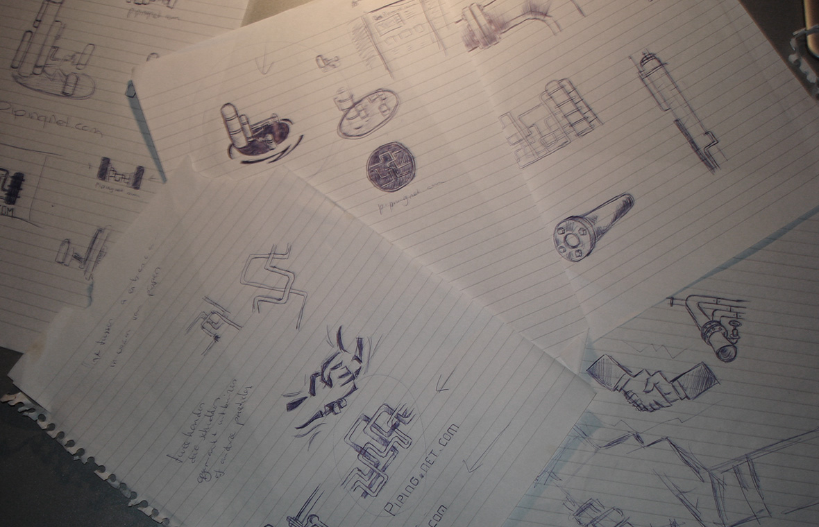 Logo pipingnet huisstijl grafisch ontwerp design schetsen