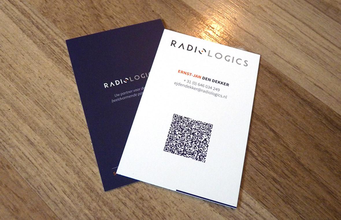 visitekaartjes radiologics huisstijl logo qrcode drukwerk grafisch ontwerp design