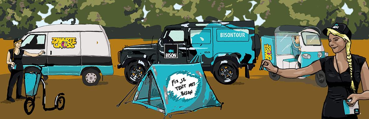 Face The Public tender pitch visual digital illustration illustratie tekening drawing bison mudmasters