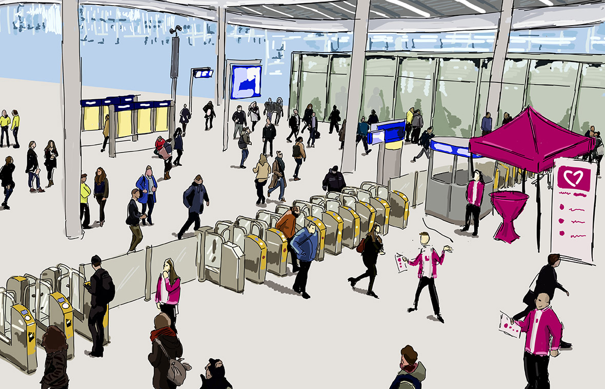 Face The Public tender pitch visual digital illustration illustratie tekening drawing donorregistratie overheid station utrecht schets