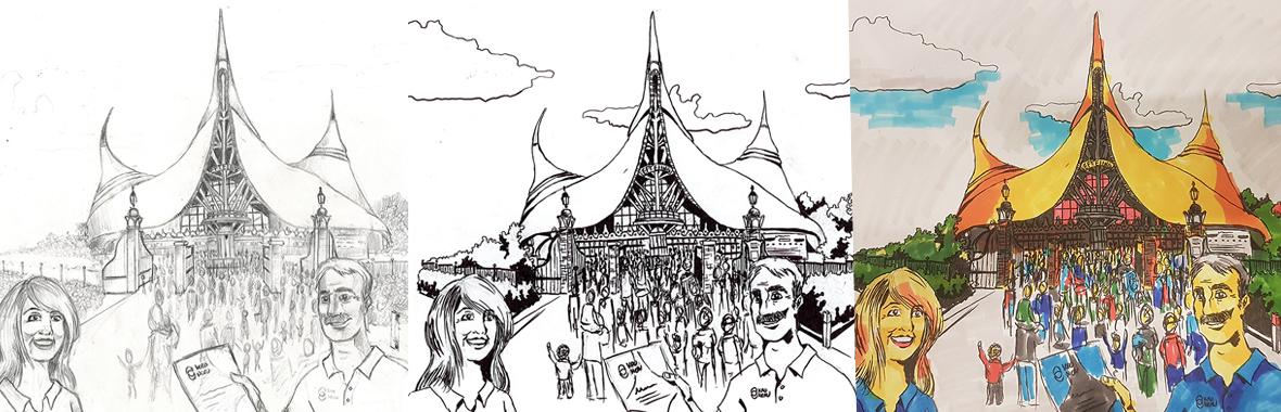 facethepublic tender pitch visual digital illustration illustratie tekening drawing efteling huisvanvijfzintuigen kro pretpark schets