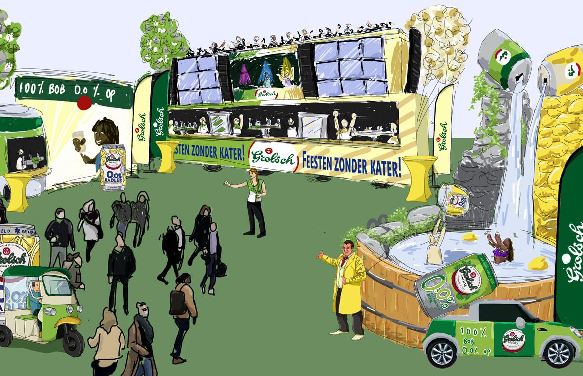 Face The Public tender pitch visual digital illustration illustratie tekening drawing grolsch alcoholvrij alcohol activatie blik schets