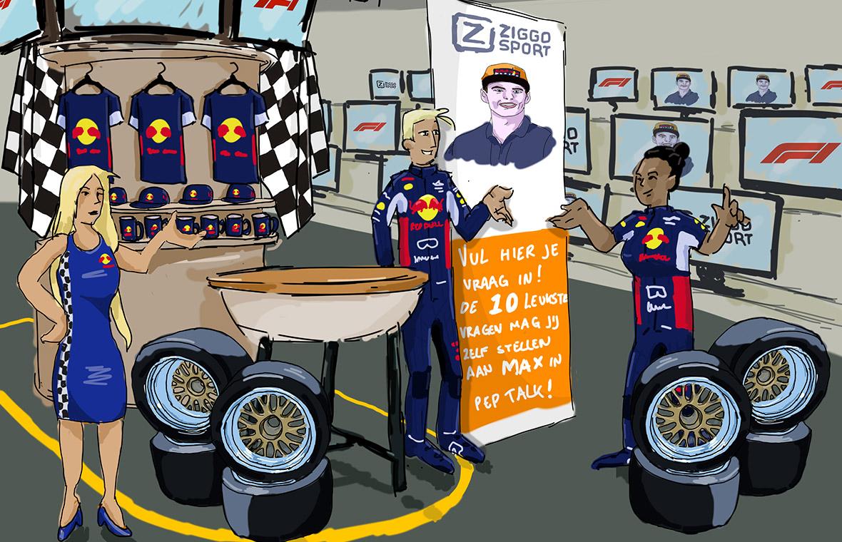 facethepublic tender pitch visual digital illustration illustratie tekening drawing ziggo racing ballenbak mediamarkt redbull schets