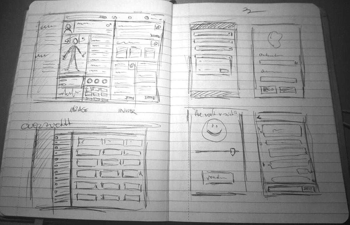 chipsoft ux interaction user experience interface digital software app grafisch ontwerp hix mock-up schets 1