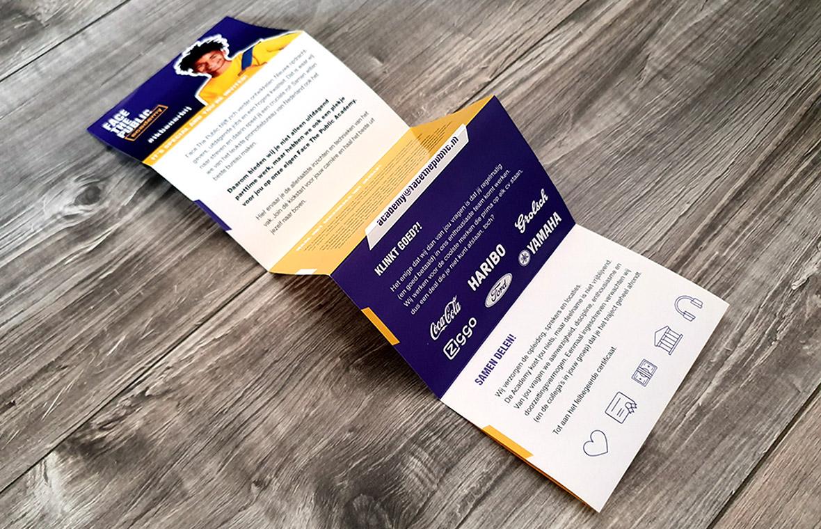 facethepublic brochure folder grafisch ontwerp drukwerk academy enkel